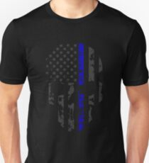Thin Blue Line Police American Flag Distressed Skull Unisex T-Shirt
