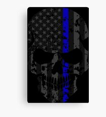 Thin Blue Line Police American Flag Distressed Skull Canvas Print