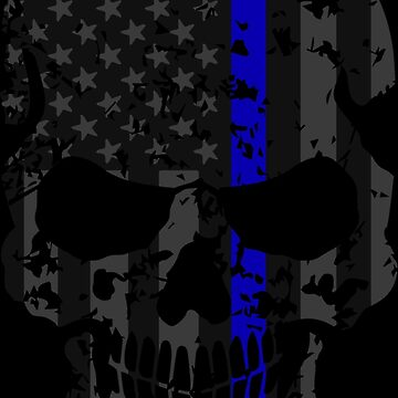 Thin Blue Line Police American Flag Distressed Skull by ChannyTatum