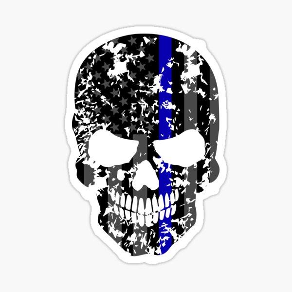 Thin Blue Line Police American Flag Distressed Skull Sticker