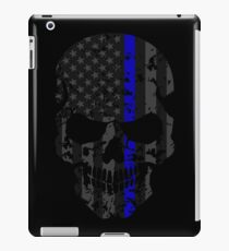 Thin Blue Line Police American Flag Distressed Skull iPad Case/Skin