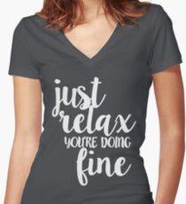 Phish Strange Design Just Relax White Women's Fitted V-Neck T-Shirt