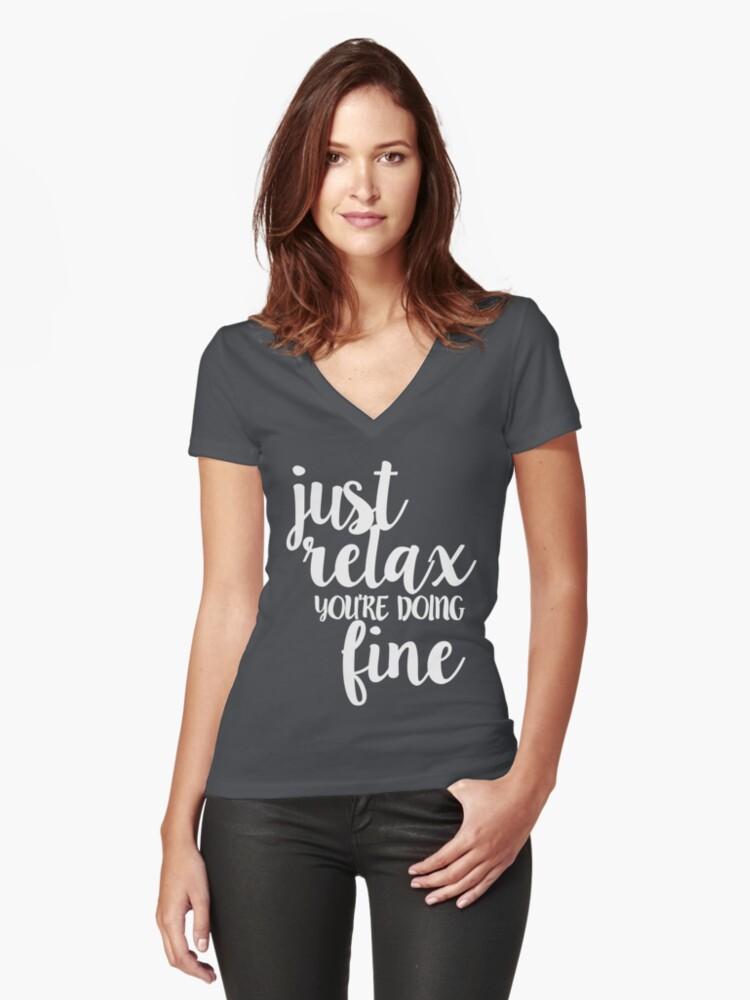 Phish Strange Design Just Relax White Women's Fitted V-Neck T-Shirt Front