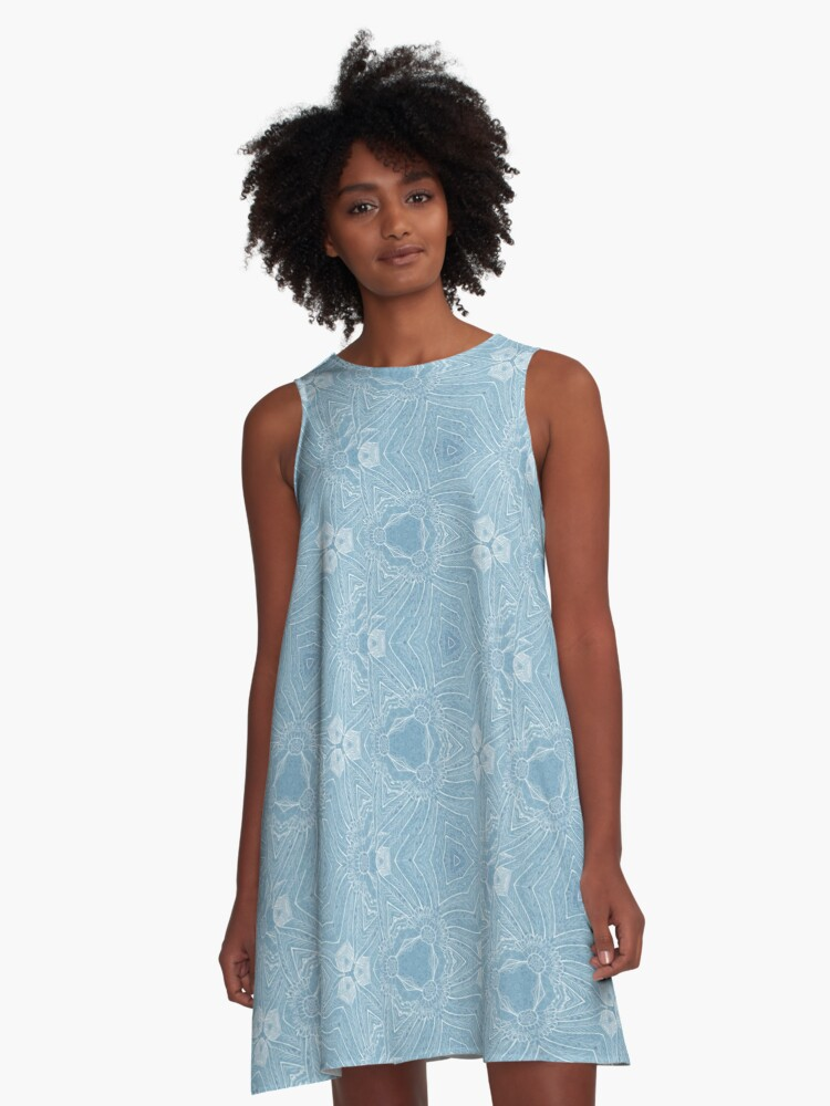 Whimsical blue and white A-Line Dress Front