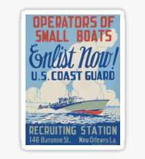 WPA United States Government Work Project Administration Poster 2003 Operators of Small Boats Enlist Now US Coast Guard Sticker