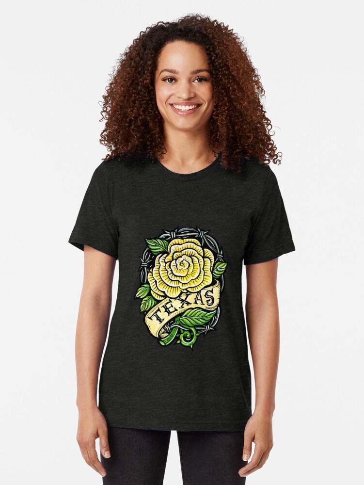 Alternate view of Texas Yellow Rose Tri-blend T-Shirt