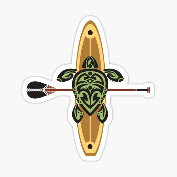 Black & Green Tribal Turtle Stand-Up Wave Rider Sticker