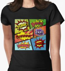 Colorful Comic Book Panels Women's Fitted T-Shirt