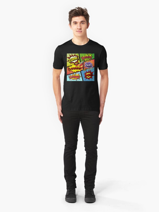 Alternative Ansicht von Bunte Comic-Buch-Tafeln Slim Fit T-Shirt