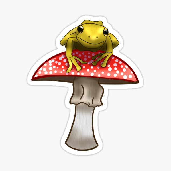 Frog On A Red Mushroom Sticker