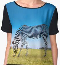 Half Striped Zebra Women's Chiffon Top