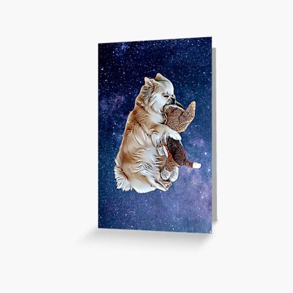 Sleeping Tibetan Spaniel with Universe Background , Drawing Greeting Card