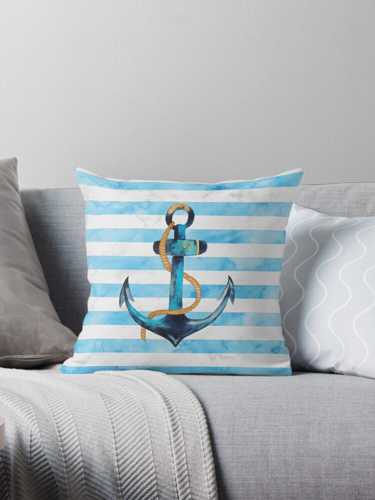 Sailor Anchor Blue Nautical Watercolor by BluePlanet