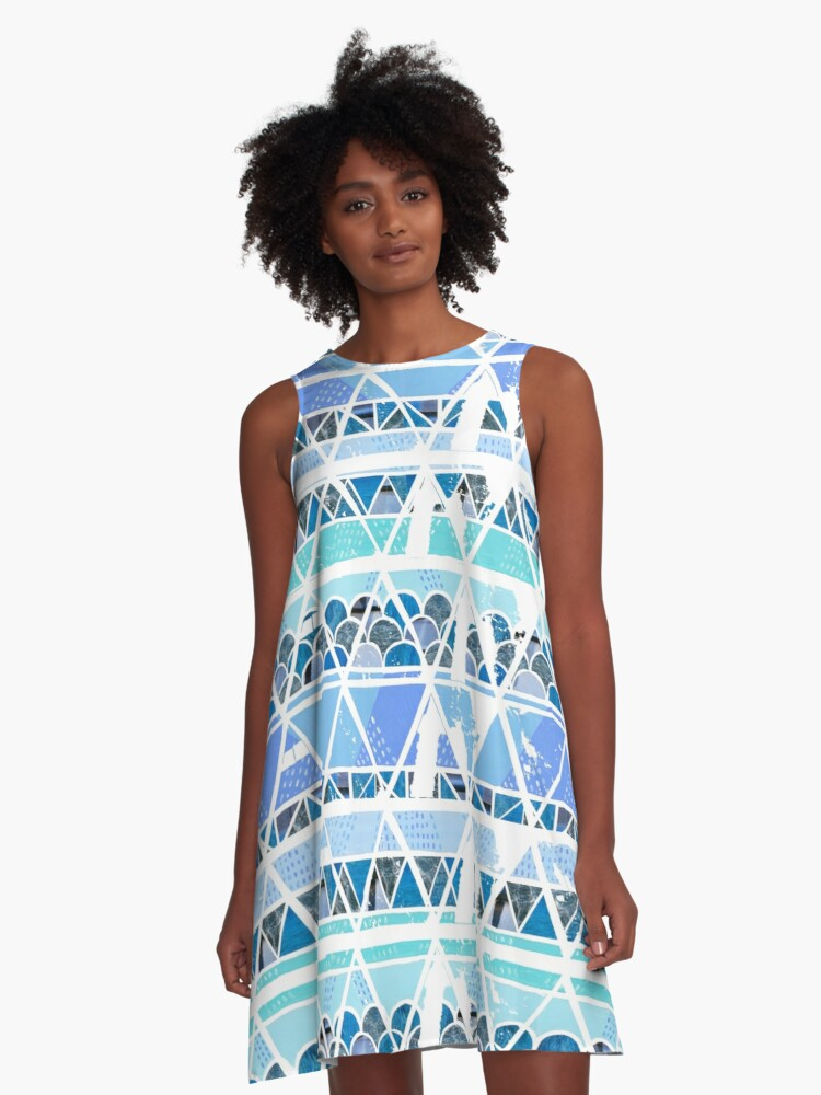 Ocean Geo Pattern Repitition A-Line Dress Front