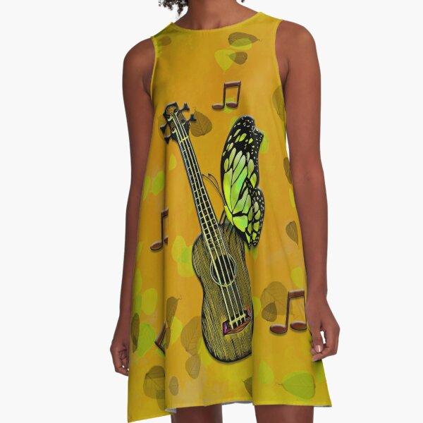 Legakulie Design Ukulele Schmetterling gelb A-Linien Kleid