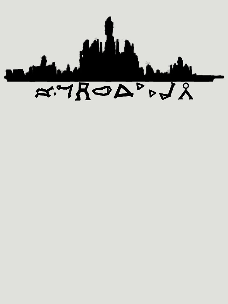 Atlantis Skyline With Gate Symbols Unisex T Shirt By Aadarshinah