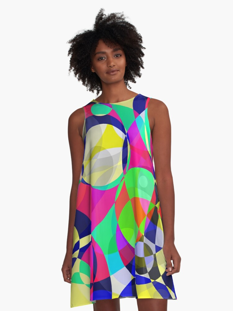 Psychedelic Circle Abstract Pattern  A-Line Dress Front