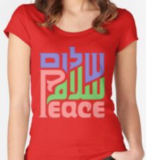 Trilingual peace graphic  Women's Fitted Scoop T-Shirt