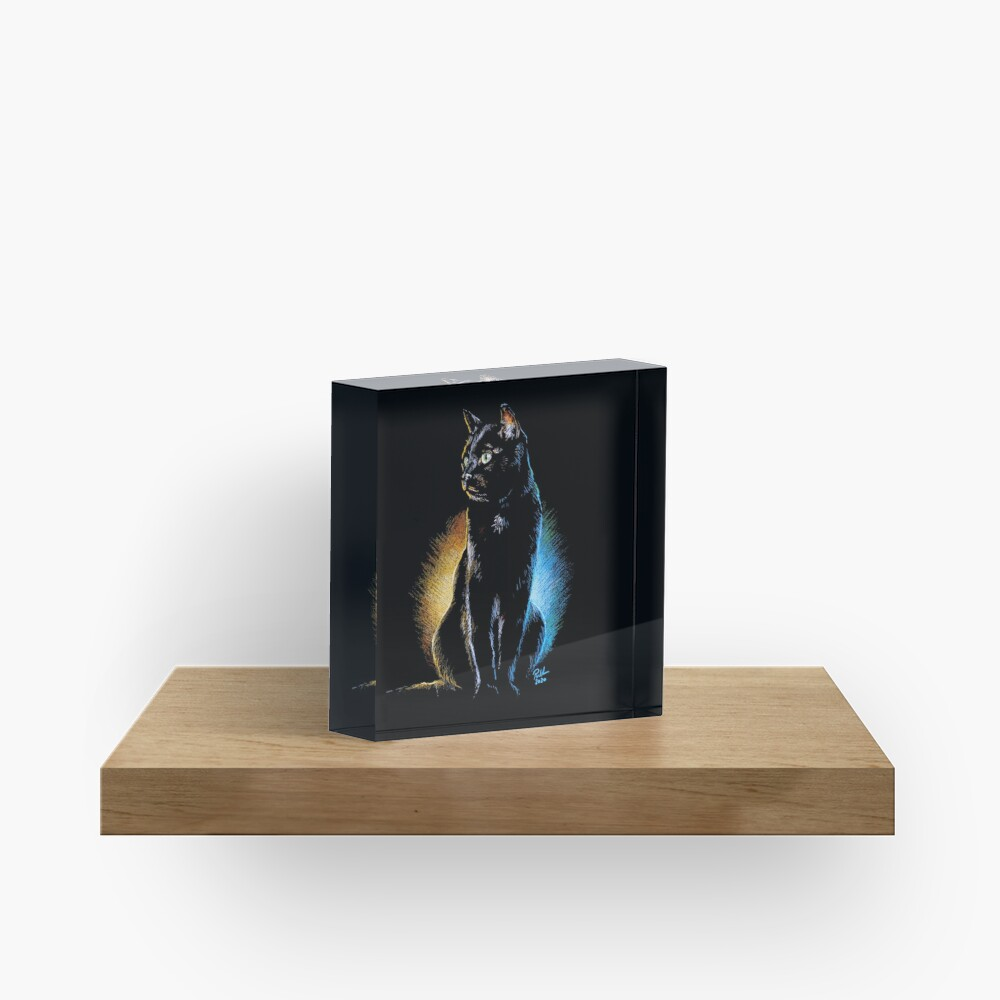 Good and Evil, Black Cat Print, Mug, Coaster, Curtain, Cup, Greetings Card Acrylic Block