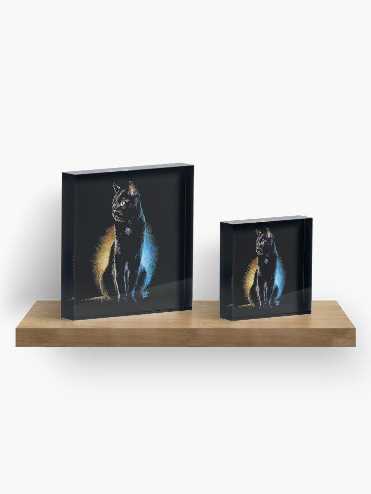 Alternate view of Good and Evil, Black Cat Print, Mug, Coaster, Curtain, Cup, Greetings Card Acrylic Block