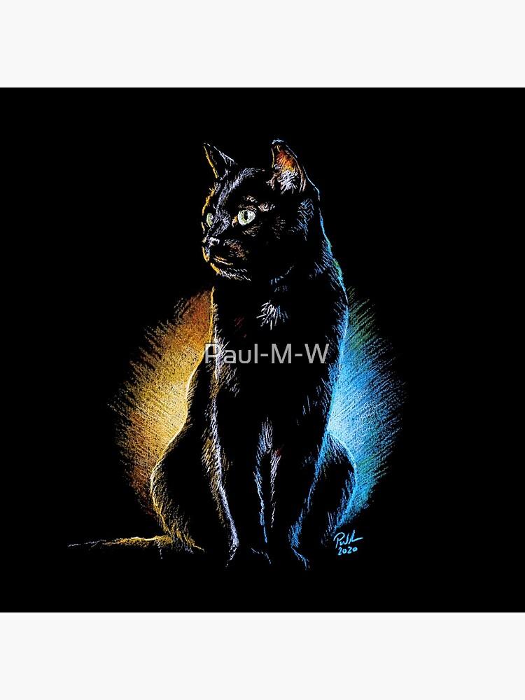 Good and Evil, Black Cat Print, Mug, Coaster, Curtain, Cup, Greetings Card by Paul-M-W