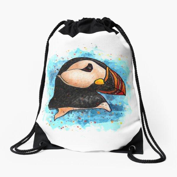 Puffin watercolor Drawstring Bag
