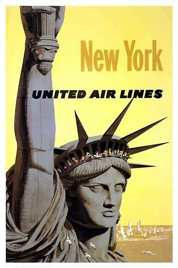 New York United Air Lines vintage Travel Poster by vintagetravel