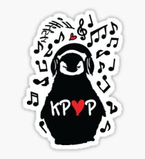 Penguin listen to kpop Sticker