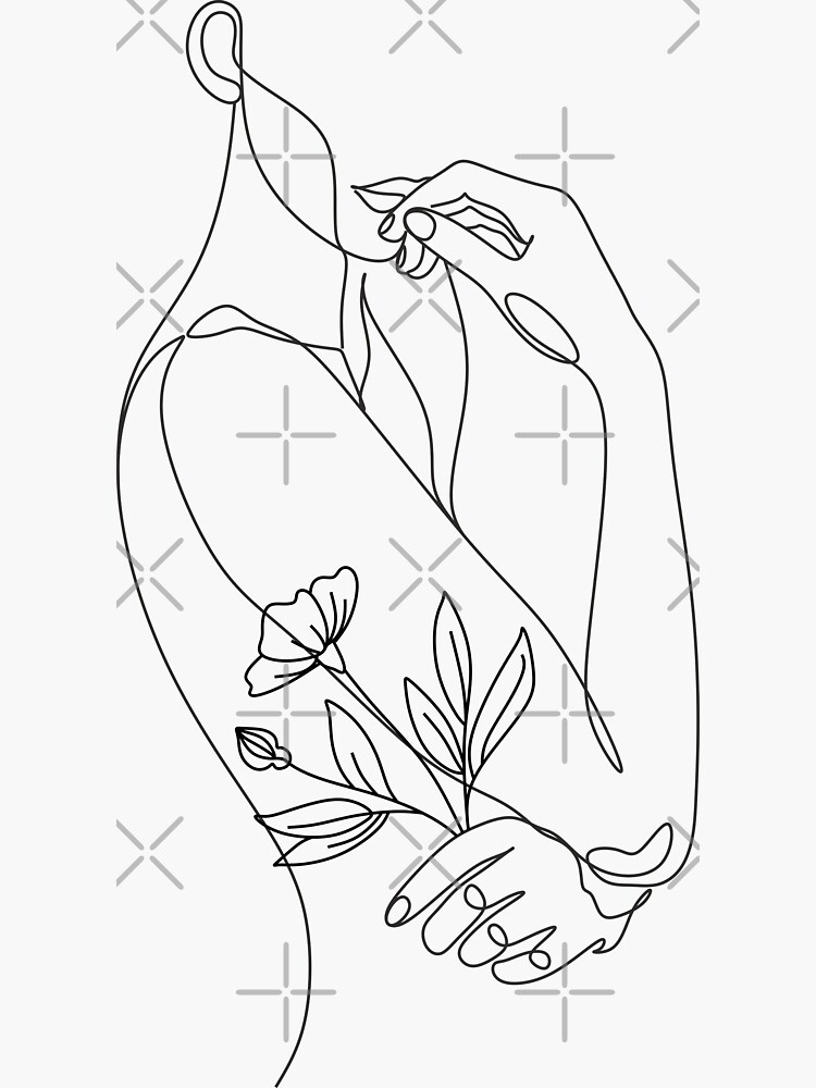 Flower with woman. Line illustration. Line drawing. One line. Nature face. by OneLinePrint