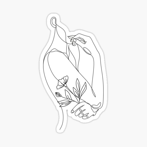 Flower with woman. Line illustration. Line drawing. One line. Nature face. Sticker
