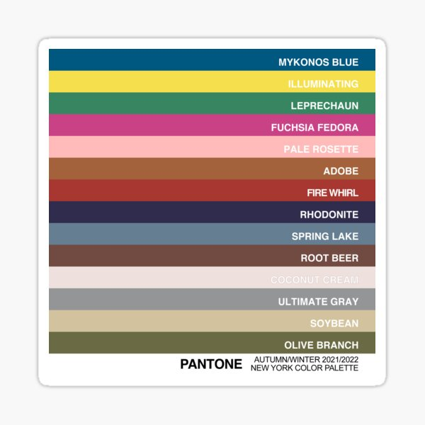 New York Fashion Week Color Palette, Autumn/Winter 2021/2022 (Pantone - all 14 colors, with labels) Sticker