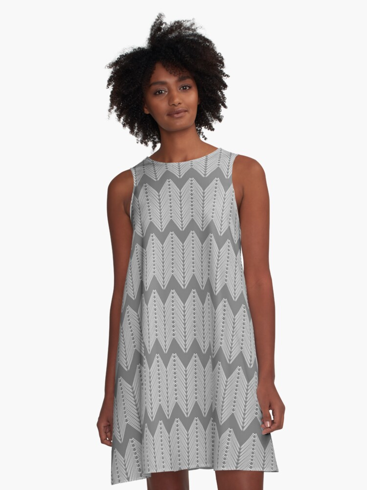 Knitting Needle Forest Nettles Chevron Pattern - Black and White A-Line Dress Front