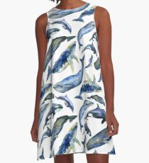Watercolor whales A-Line Dress
