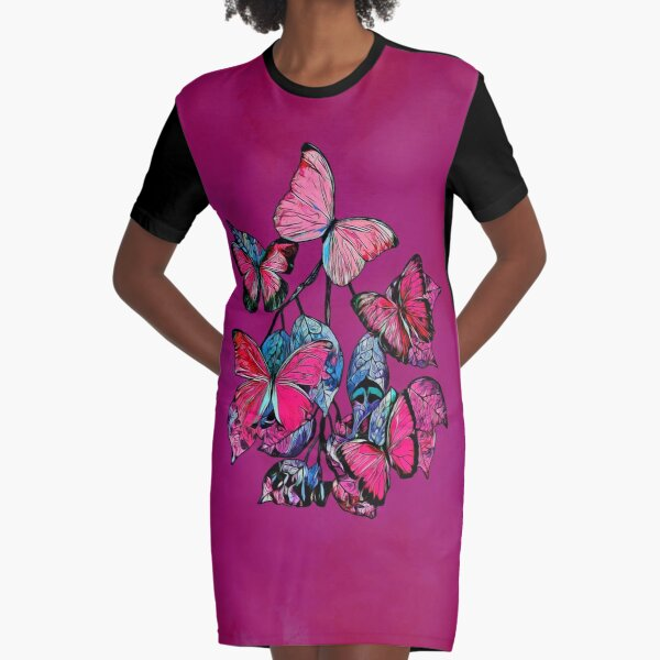 Legakulie Schmetterlinge Blütenblätter rot pink Graphic T-Shirt Dress