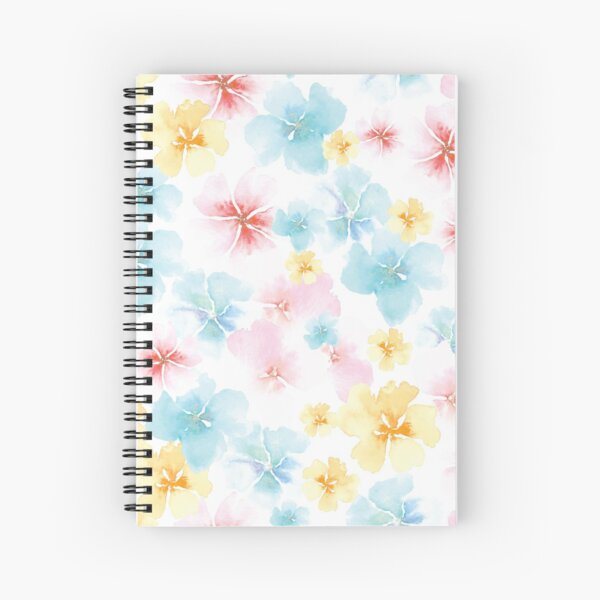 Watercolor Whimsy Flowers by Creative Bee Studios Spiral Notebook