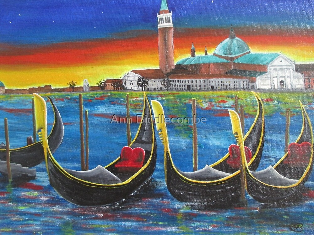 Gondolas at Sunset by Ann Biddlecombe