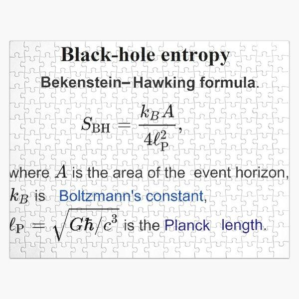 Black-hole entropy Bekenstein-Havking Formula Термодинамика чёрных дыр Jigsaw Puzzle