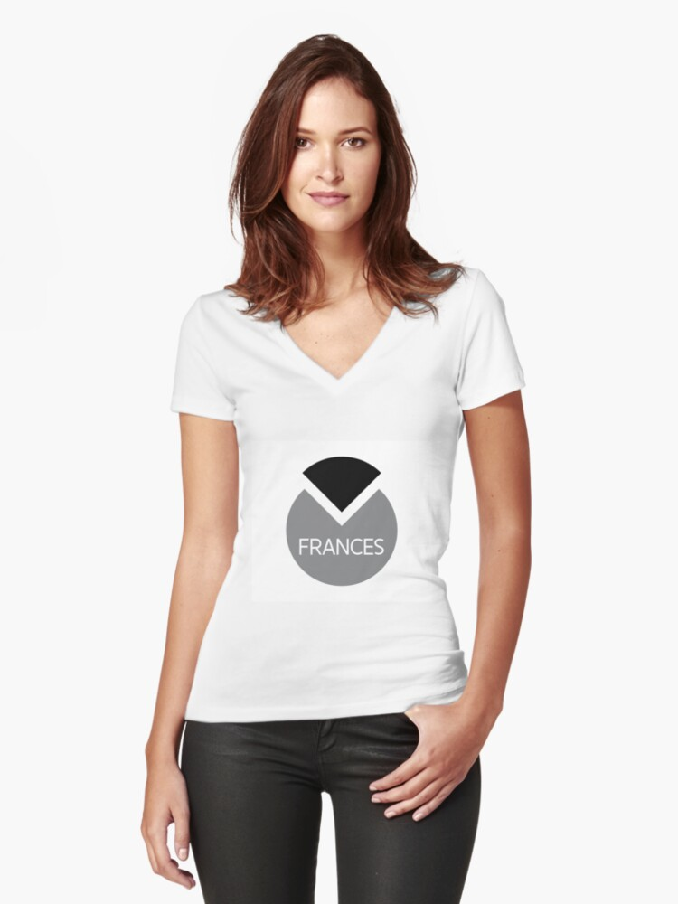 american first name female: Frances Women's Fitted V-Neck T-Shirt Front