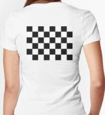 Checkered Flag, Chequered Flag, Checkerboard, Pattern, WIN, WINNER,  Racing Cars, Race, Finish line, BLACK Women's Fitted V-Neck T-Shirt