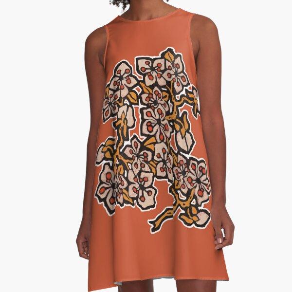 Golden Blossom on Burnt Orange A-Line Dress
