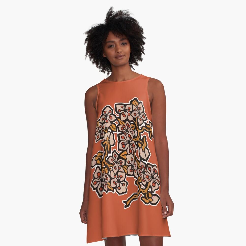 Golden Blossom on Burnt Orange A-Line Dress Front