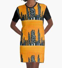 Sunset City and Lights Graphic T-Shirt Dress