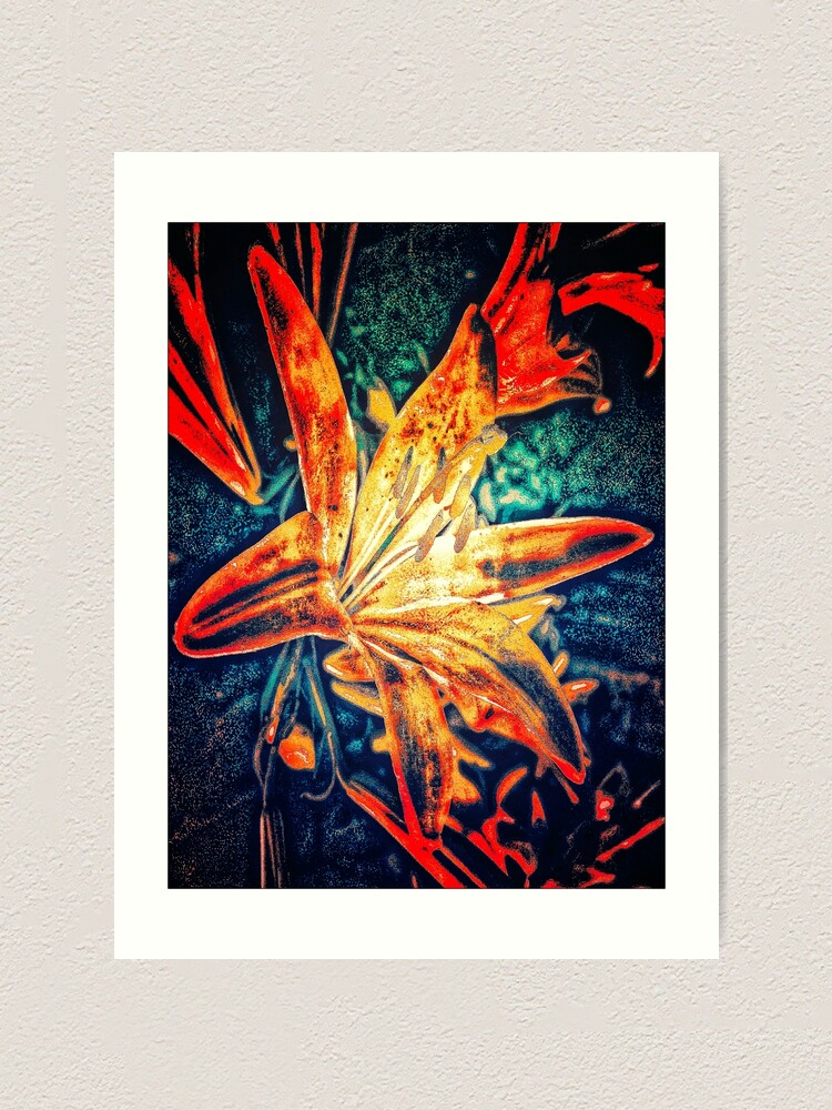 Alternate view of Red Lilly Flower Art Print