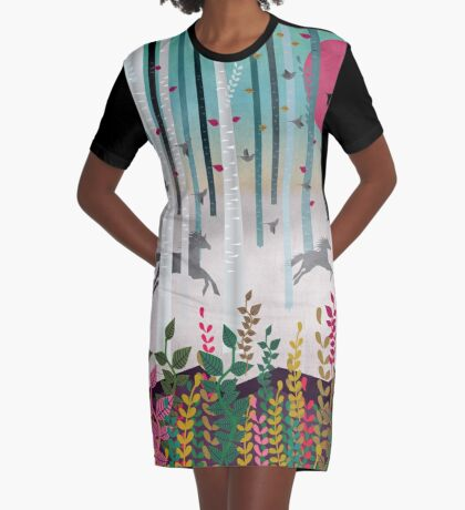 Flying Horses Graphic T-Shirt Dress