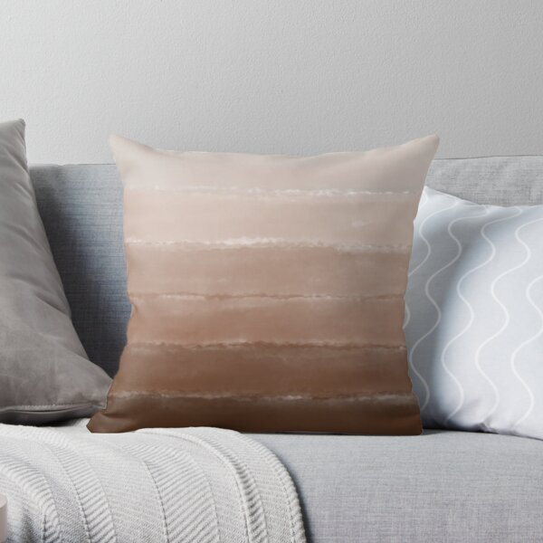 Shades of Neutral Earth Tones in a Striped Ombré Pattern with Warm Brown Tan Beige and Caramel Colors Painted in a Watercolor Style Representing a Abstract Desert Throw Pillow