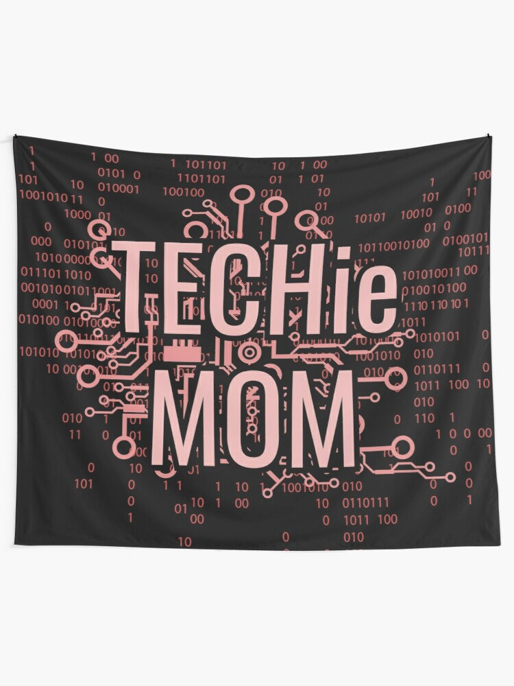 Alternate view of TECHie MOM Cyber Pink circuit Tapestry