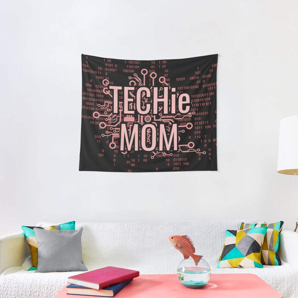 TECHie MOM Cyber Pink circuit Tapestry