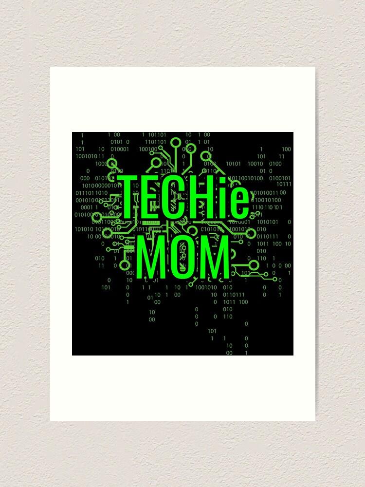Alternate view of TECHie MOM Digital Green circuit Art Print