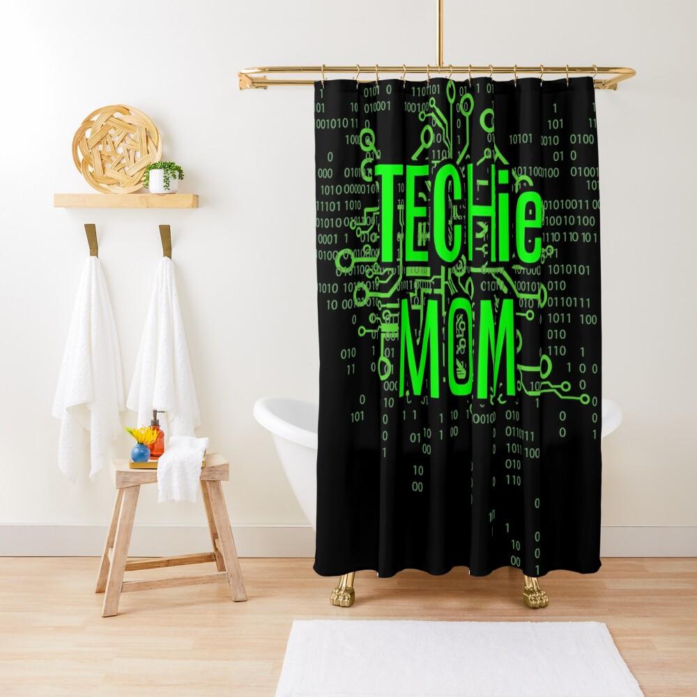 TECHie MOM Digital Green circuit Shower Curtain