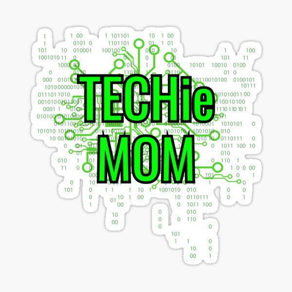 TECHie MOM Digital Green circuit Sticker